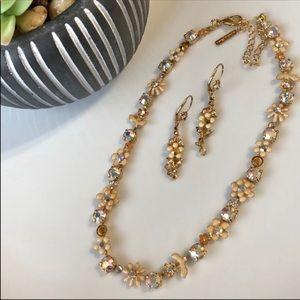 Rare Sorrelli Fresh Flowers Crystal Necklace Set